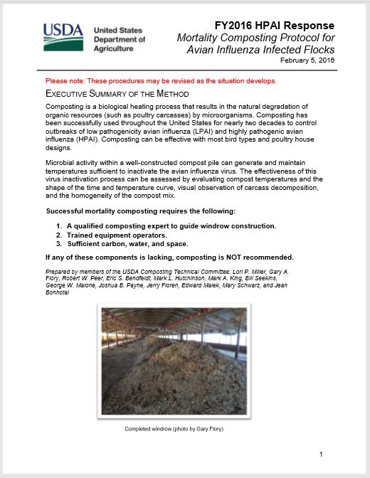 USDA HPAI Composting Protocol