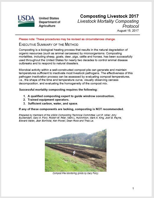 USDA Livestock Composting Protocol